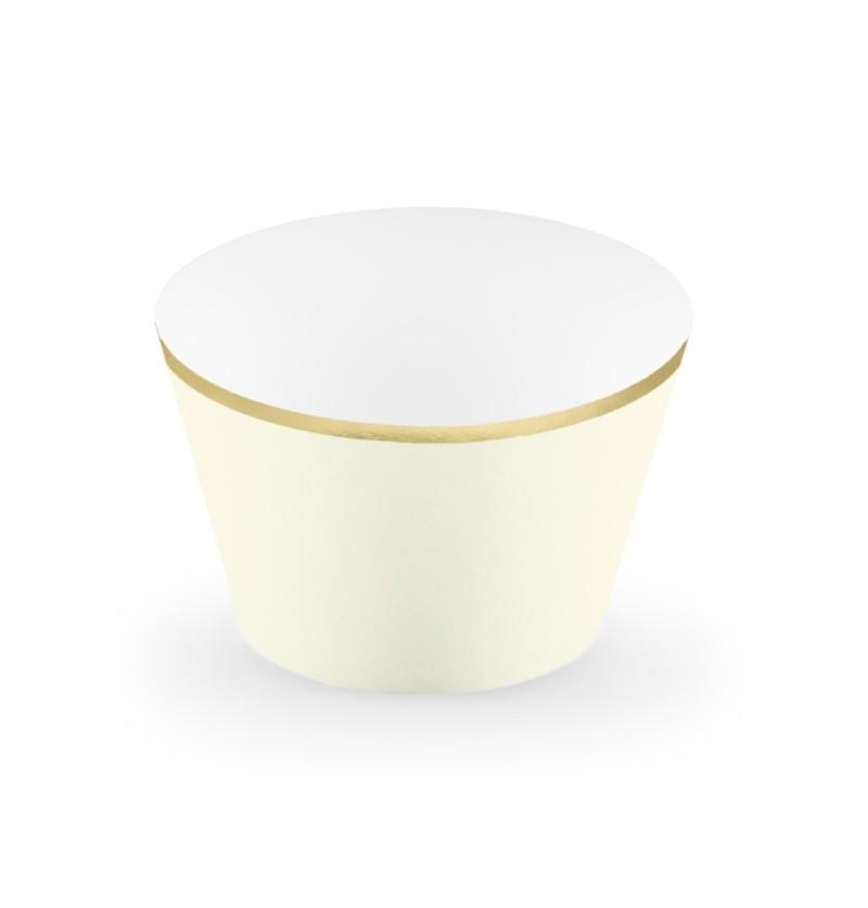 Set de 6 bases para cupcakes beige con borde dorado de papel