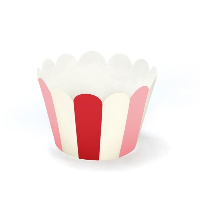 Set de 6 bases para cupcakces rayas rosas y rojas de papel - Sweet Love Collection