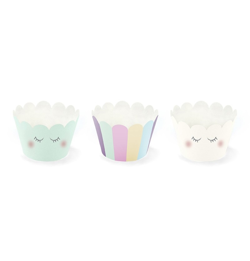 Set de 6 bases para cupcakes variadas tonos pastel de papel - Unicorn Collection