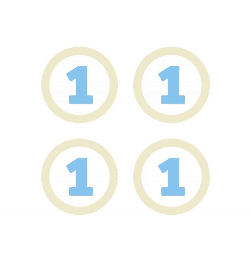 Set de 4 elementos decorativos para mesa 1st Birthday azules - Blue First Birthday