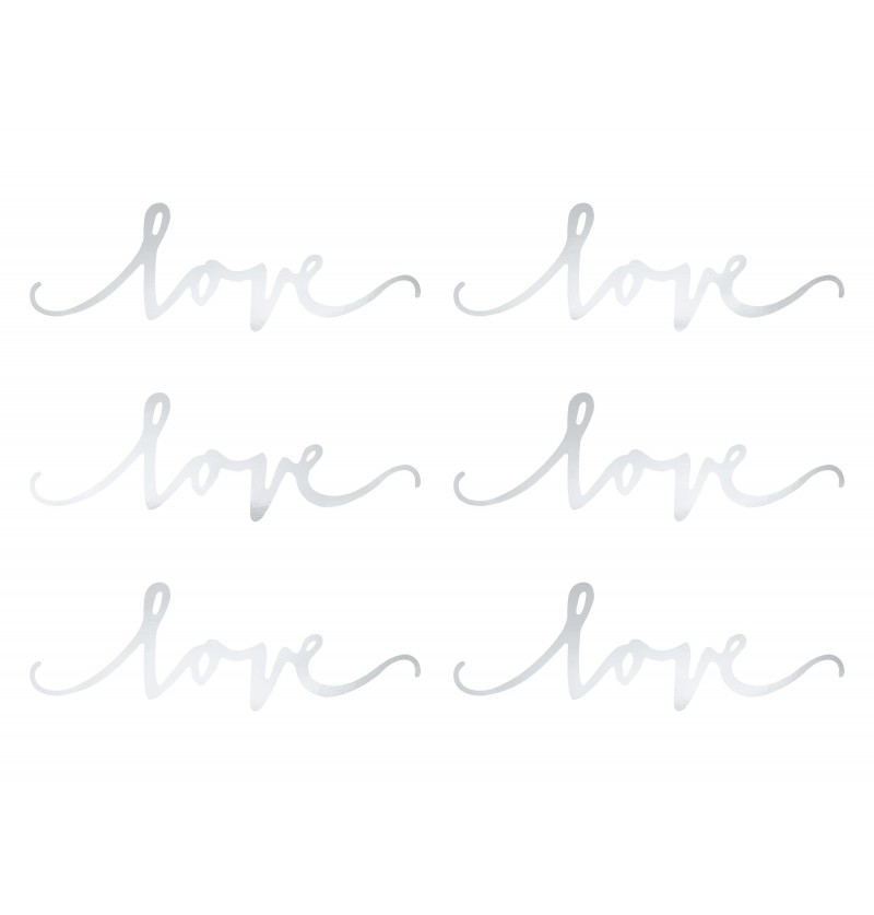 "Set de 6 elementos decorativos plateados para mesa ""Love"" - Elegant Bliss Collection"