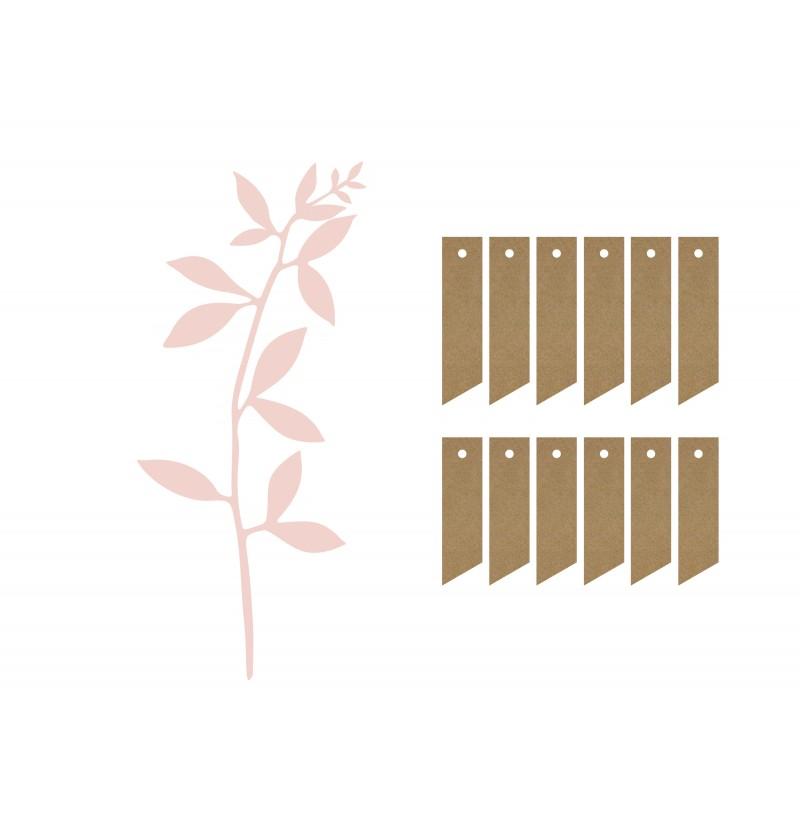 Set de 6 tallos de flores rosa pastel para decoración de mesa - Natural Wedding