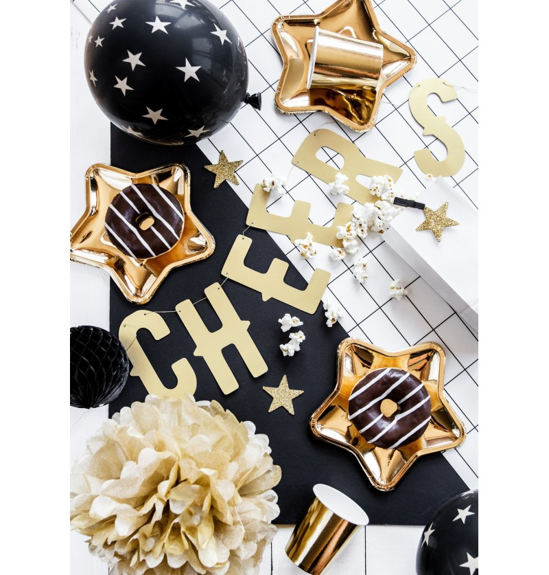 Set de 8 estrellas para decoración de mesa doradas