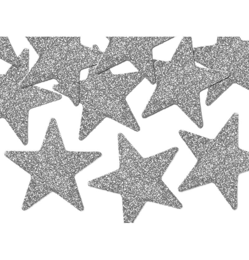 Set de 8 estrellas para decoración de mesa plateadas