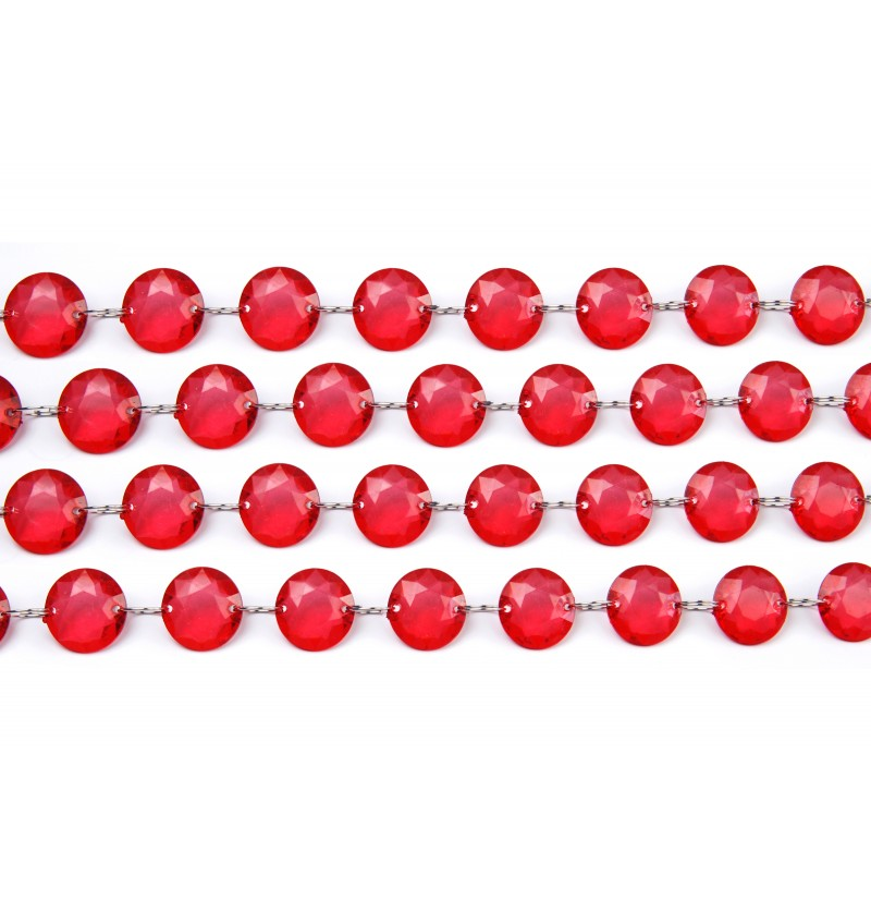 Guirnalda decorativa de cristal rojo de 1 m y 18 mm de diámetro