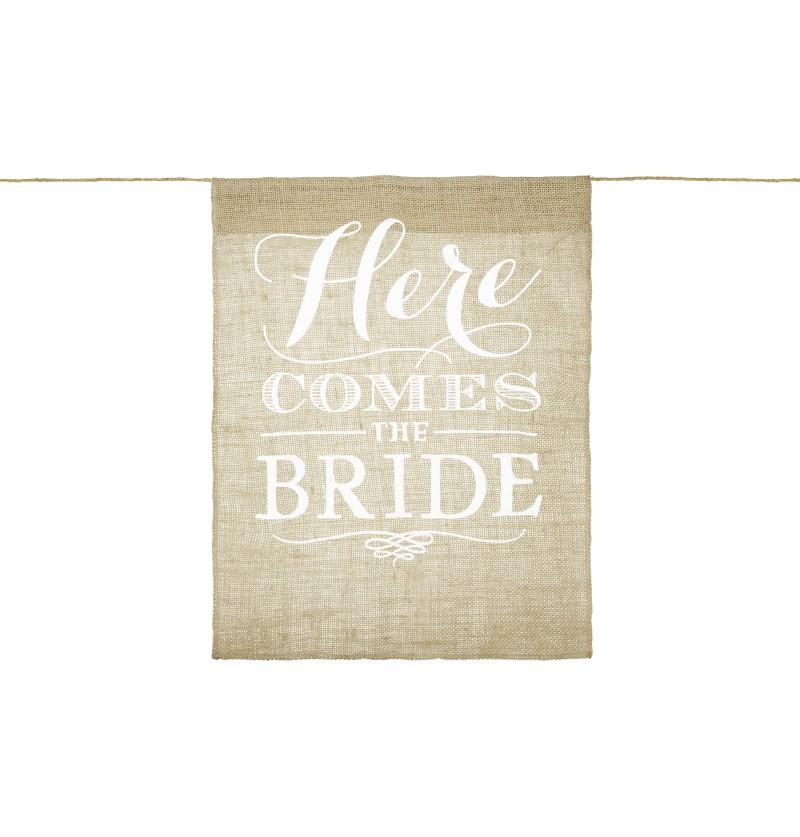 """Banderín para pajes """"Here comes the bride"""" de rafia"""