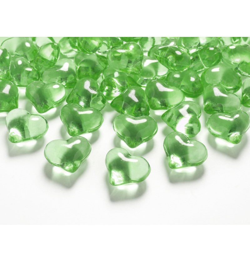 Set de 30 corazones decorativos verde claro para mesa de 21 mm