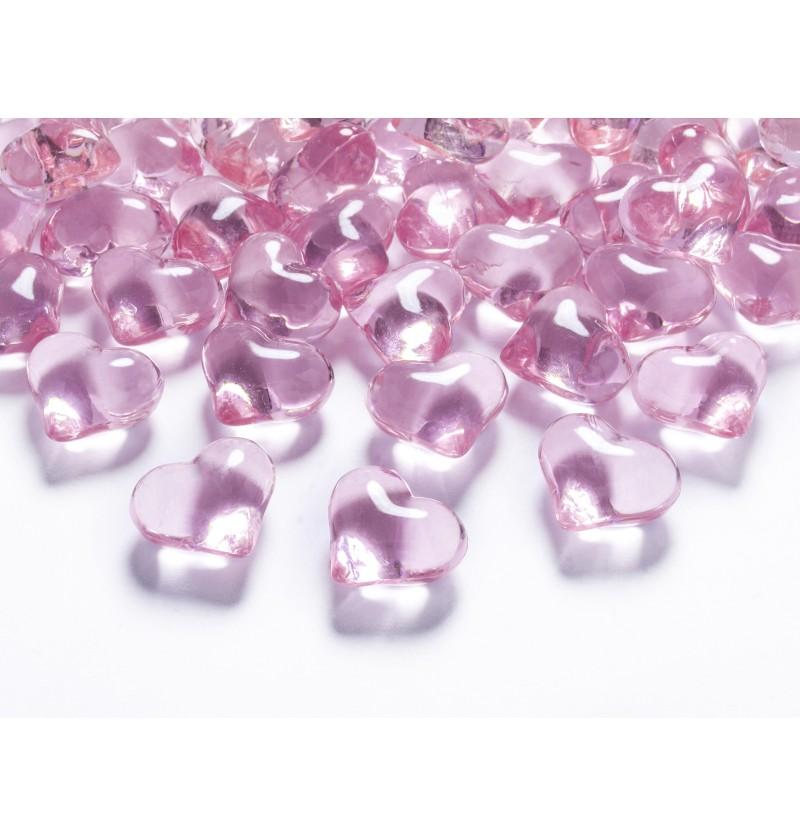 Set de 30 corazones decorativos rosa claro para mesa de 21 mm