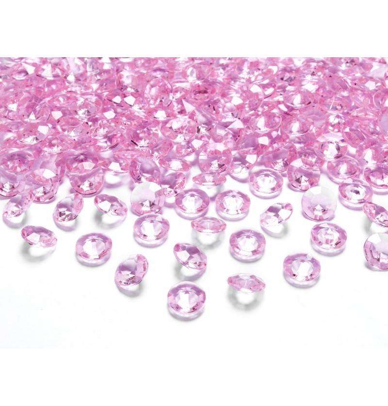 Set de 100 diamantes decorativos rosa para mesa de 12 mm
