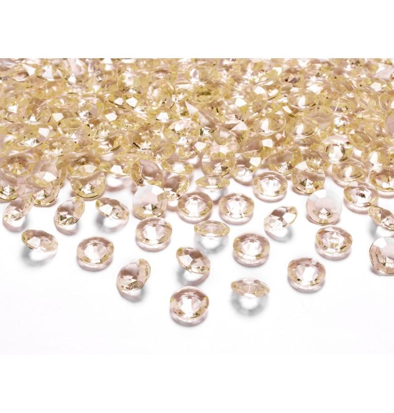 Set de 100 diamantes decorativos dorado para mesa de 12 mm