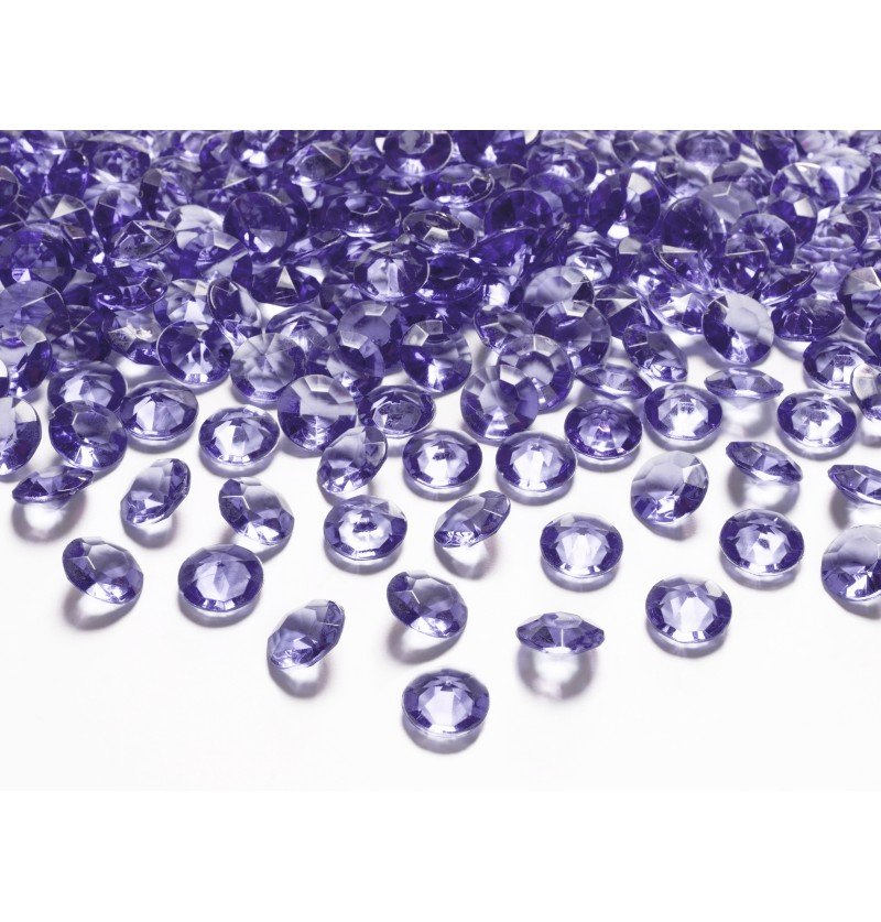 Set de 100 diamantes decorativos violeta para mesa de 12 mm