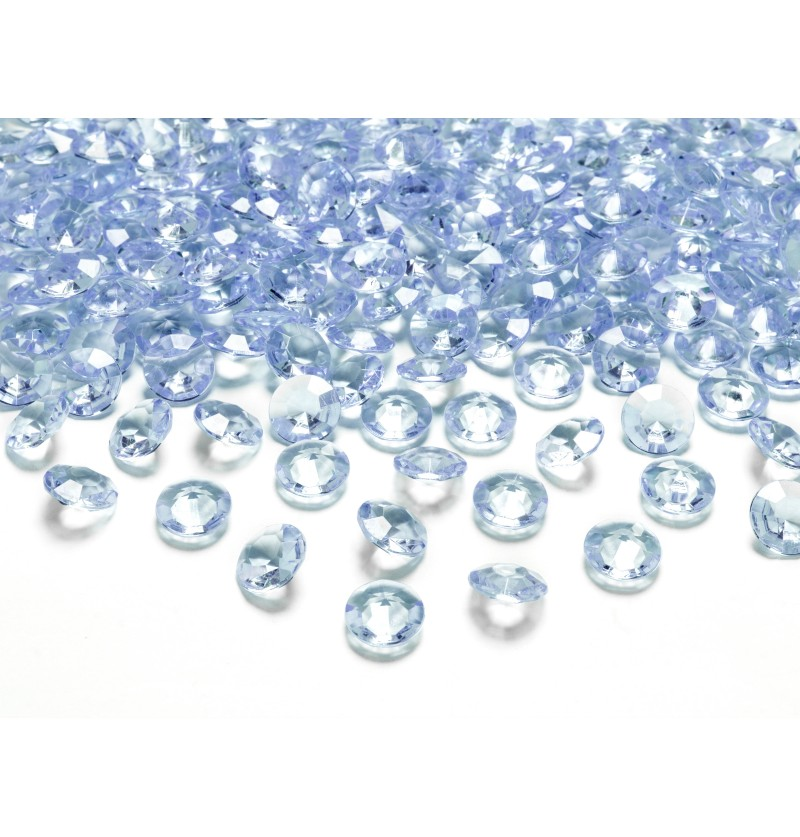 Set de 100 diamantes decorativos azul cielo para mesa de 12 mm