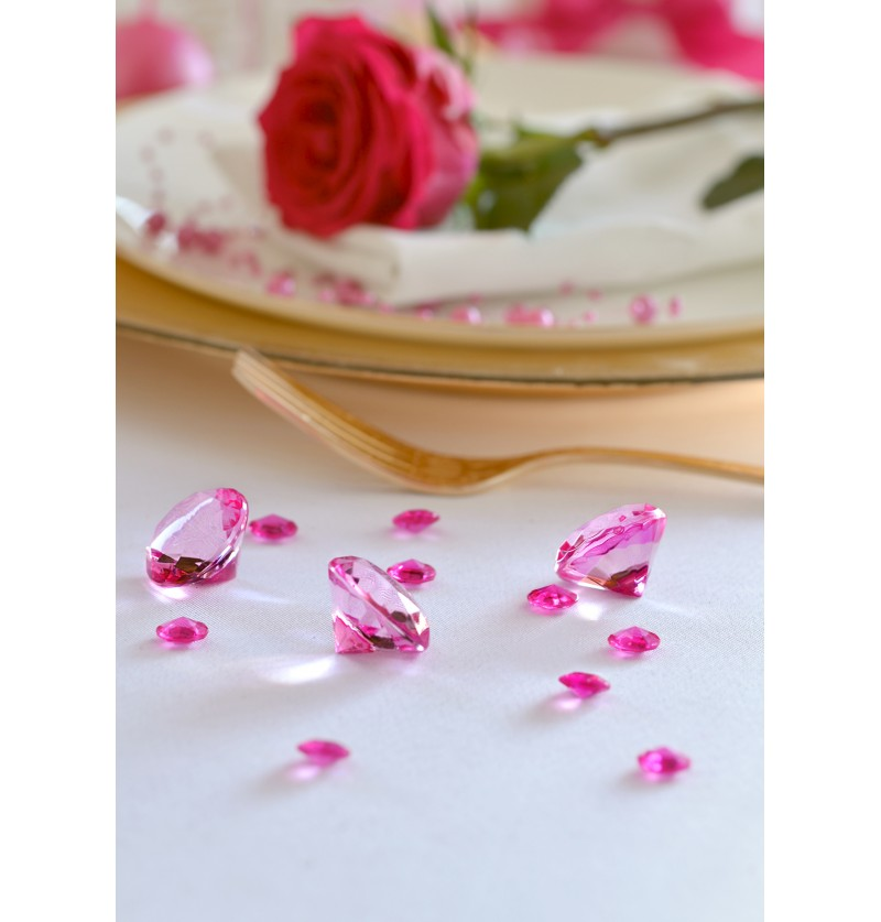 Set de 100 diamantes decorativos fucsia para mesa de 12 mm