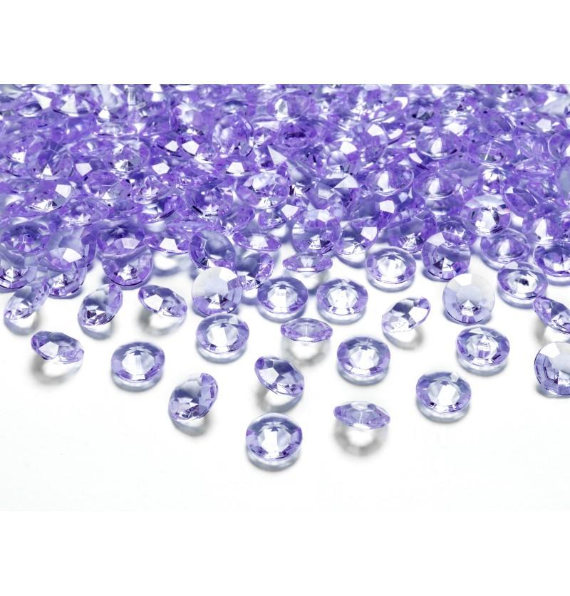 Set de 100 diamantes decorativos lila para mesa de 12 mm