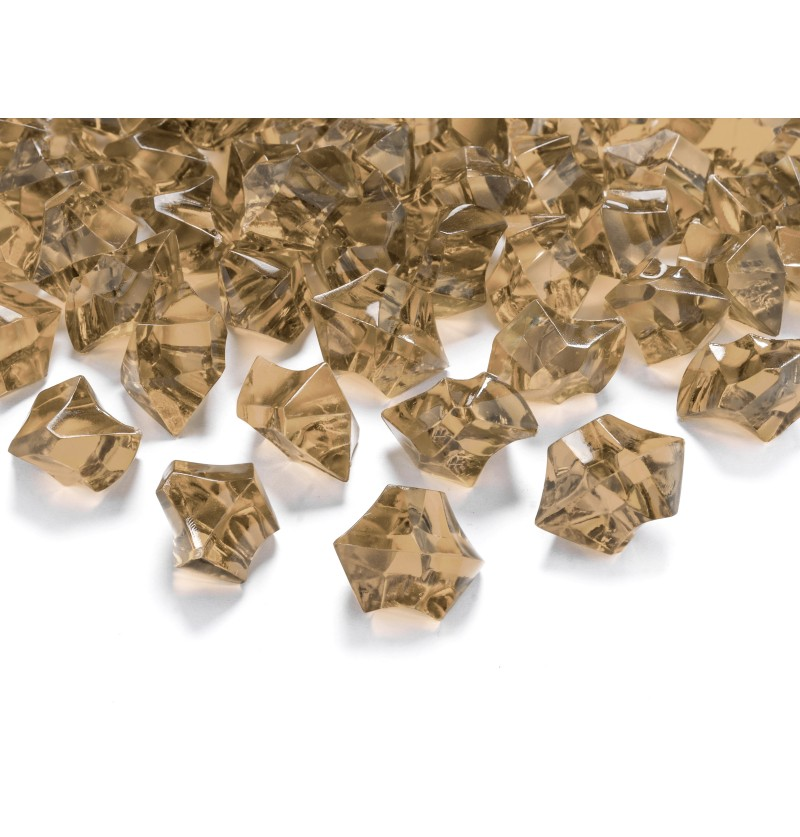 Set de 40 cristales dorados en forma de diamante