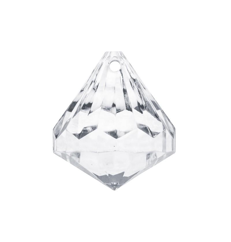 Set de 5 decoraciones de cristal forma de diamante pequeño