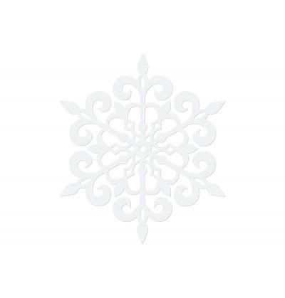 Set de 10 decoraciones para mesa blancas de copo de nieve redondo de 13 cm - Christmas