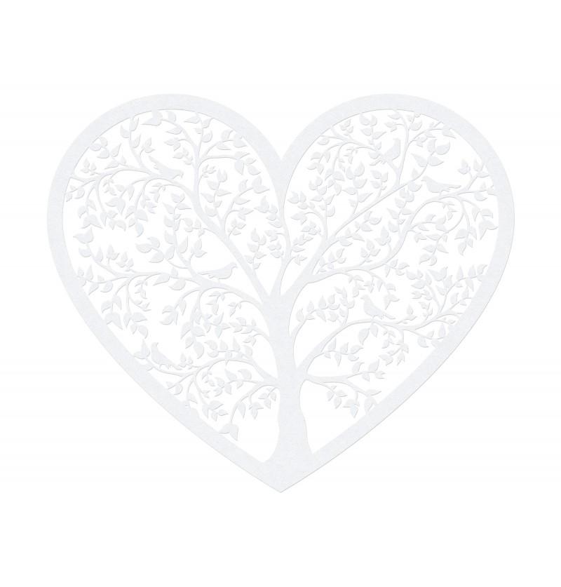 Set de 10 corazones blanco con árbol para mesa