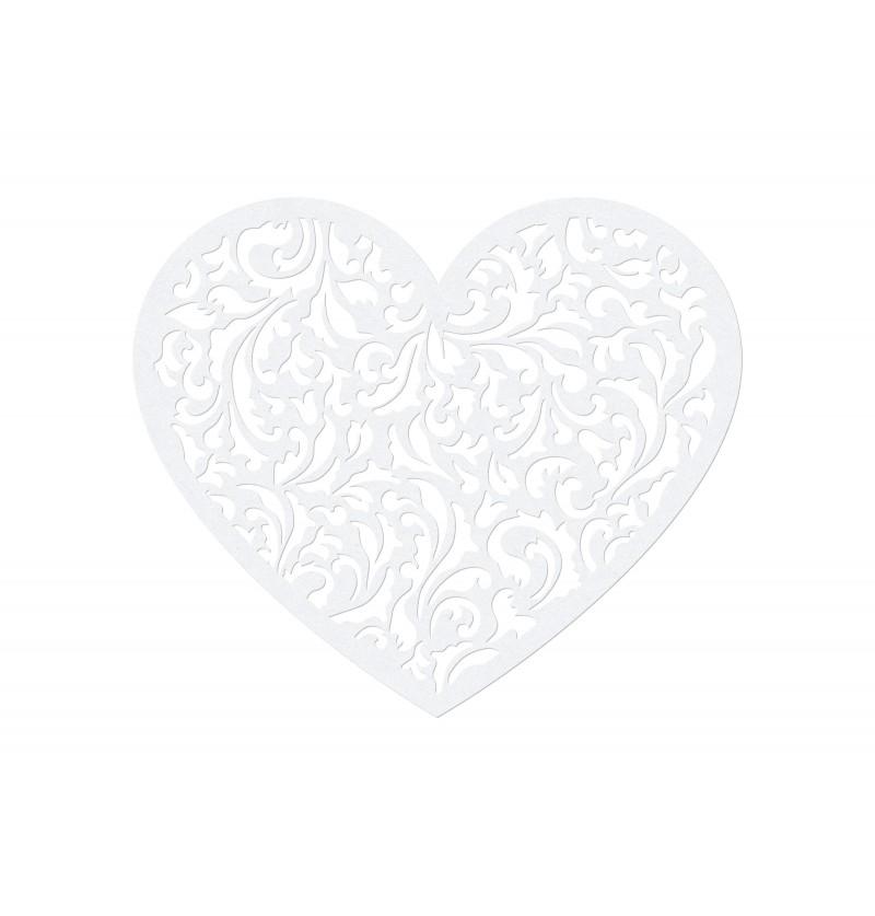 Set de 10 corazones blancos pequeños para mesa
