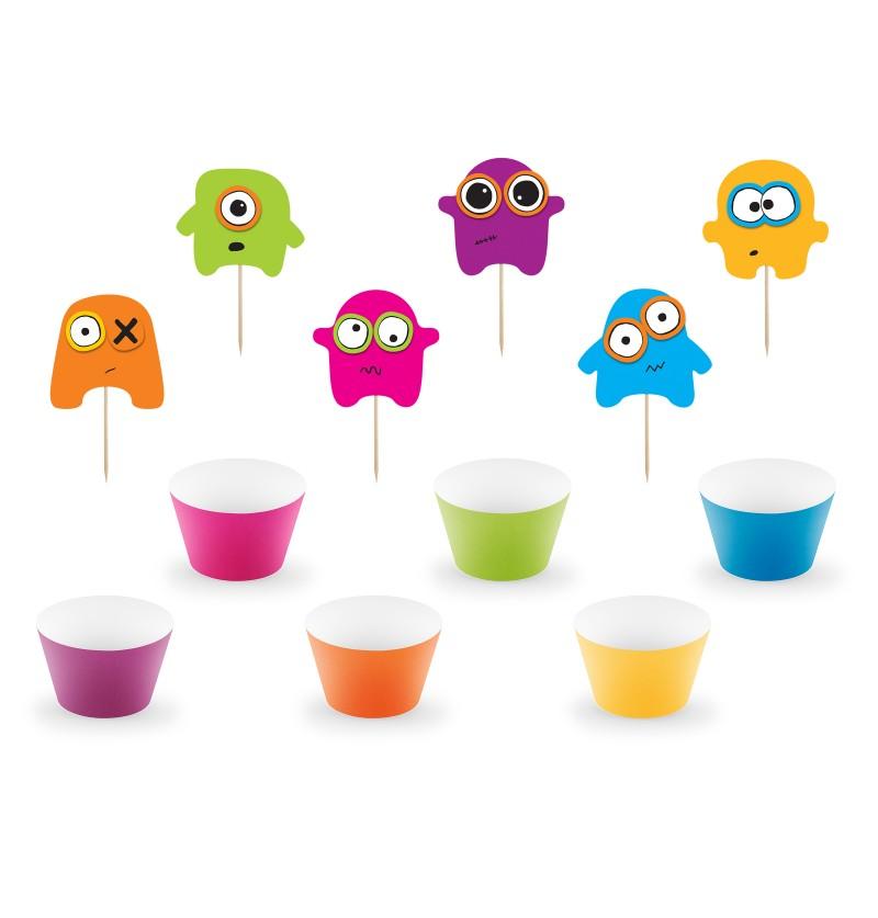 Set de 6 cupcakes monstruos variados de papel - Monster Party