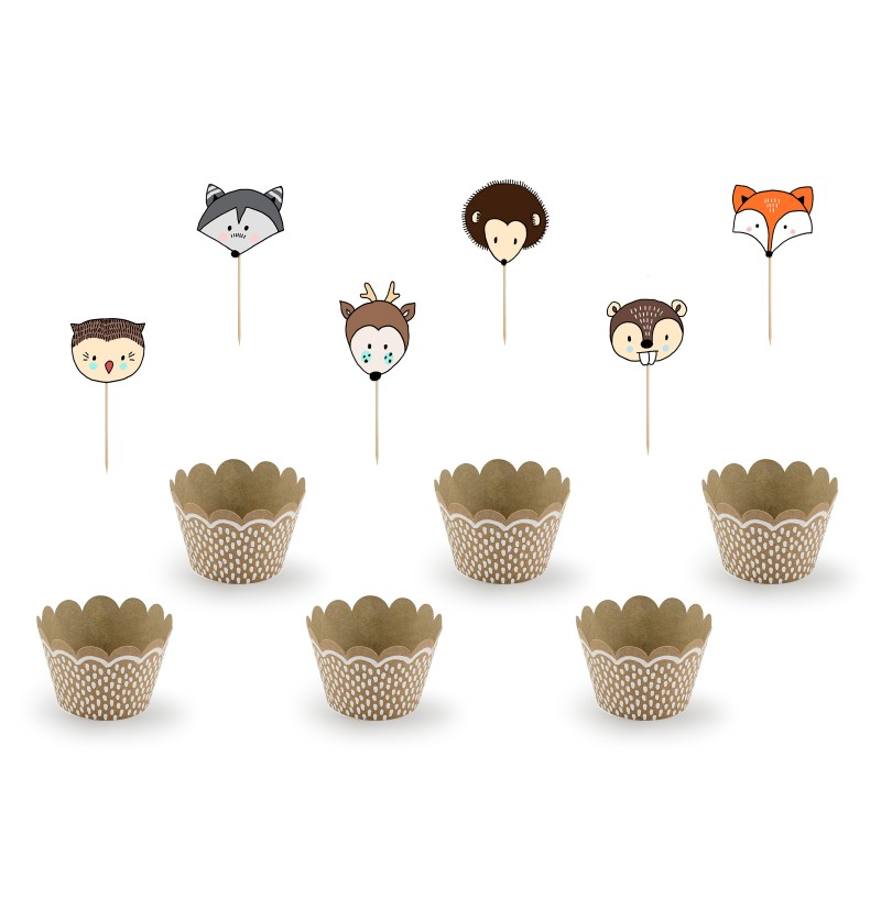 Set de 6 de cupcakes de papel Kraft - Woodland