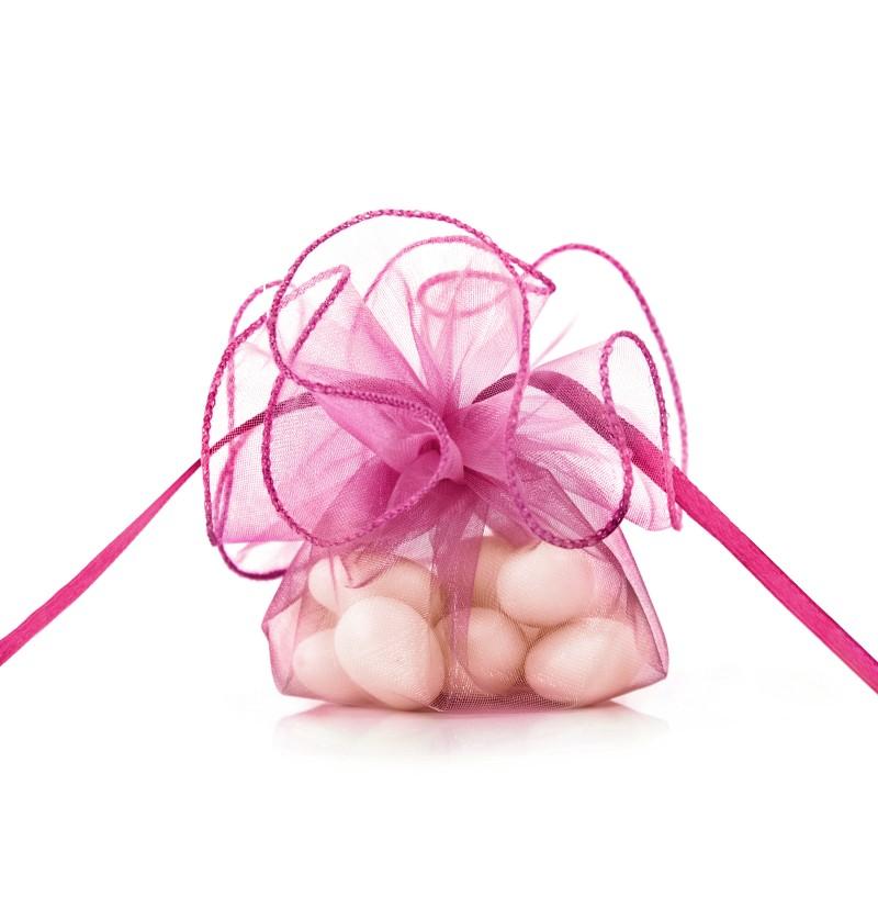 Set de 20 bolsitas rosa oscuro de organza