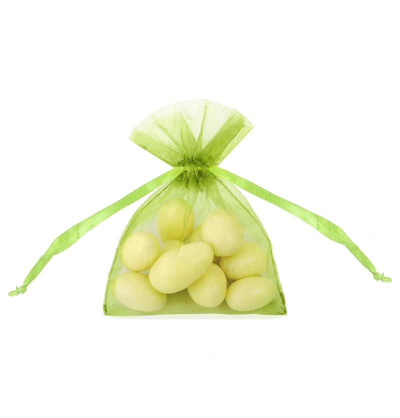 Set de 20 bolsitas tipo saco verde claro de organza