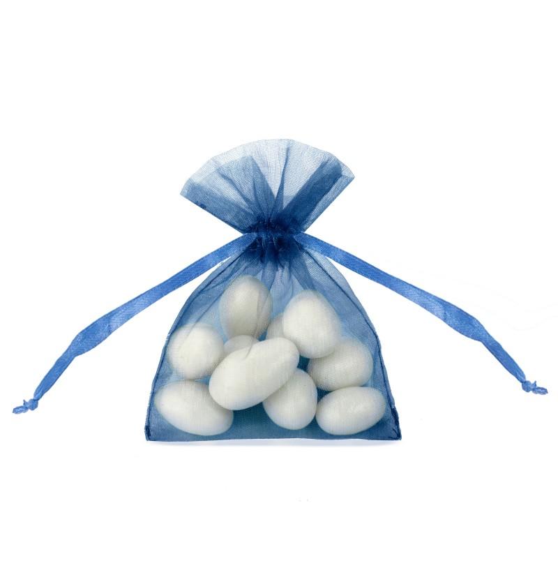 Set de 20 bolsitas tipo saco azul oscuro de organza