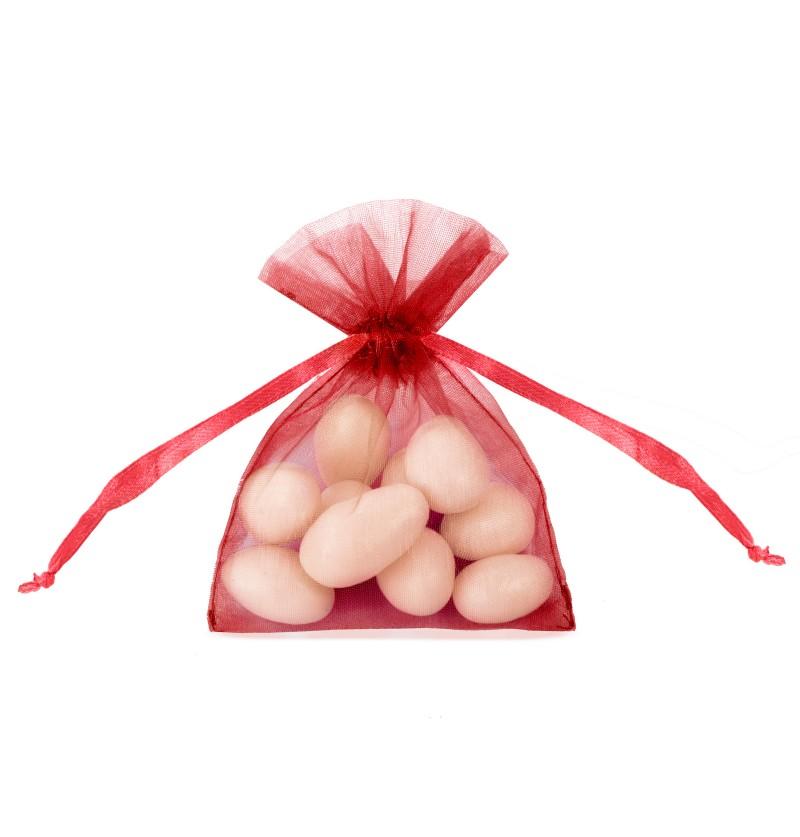 Set de 20 bolsitas tipo saco rojas de organza