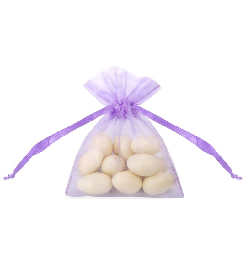 Set de 20 bolsitas tipo saco lilas de organza