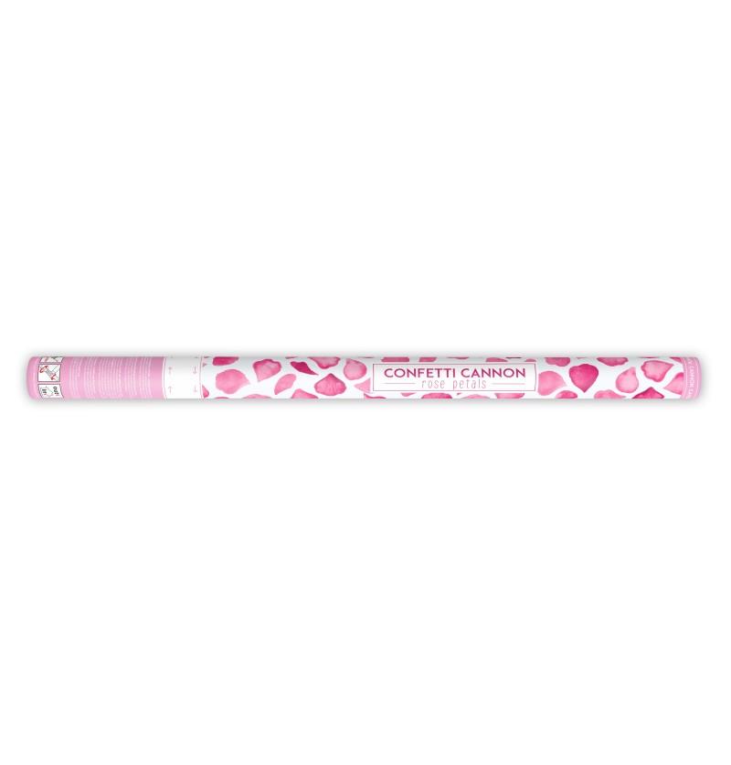 Cañón de confeti con pétalos rosas de 80 cm