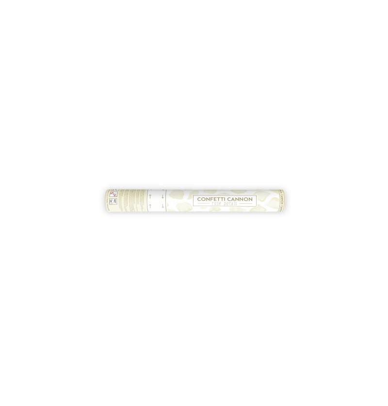 Cañón de confeti con pétalos beiges de 40 cm