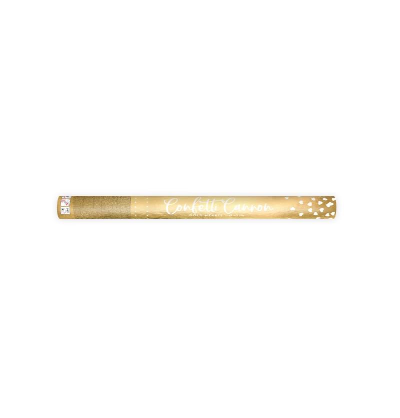 Cañón de confeti de corazones dorados de 60 cm