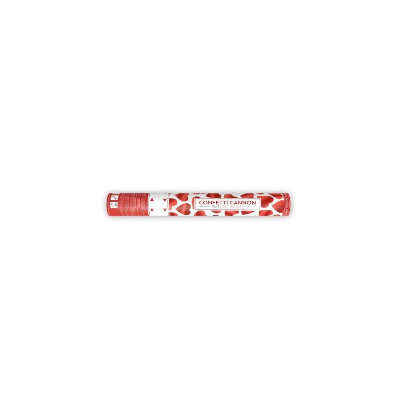 Cañón de confeti de corazones rojos de 40 cm