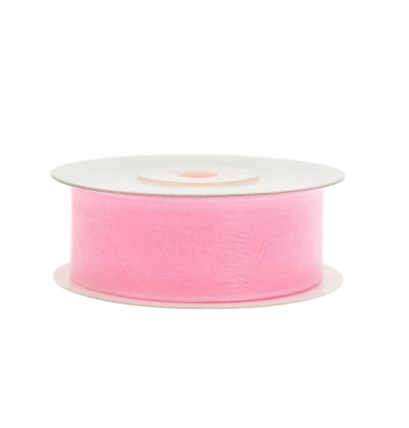 Cinta de gasa rosa pastel de 2,5 cm