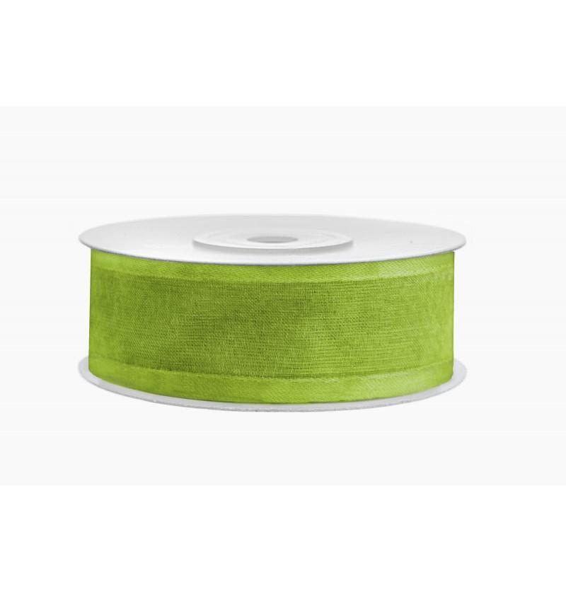 Cinta de gasa y raso verde claro de 2,5 cm