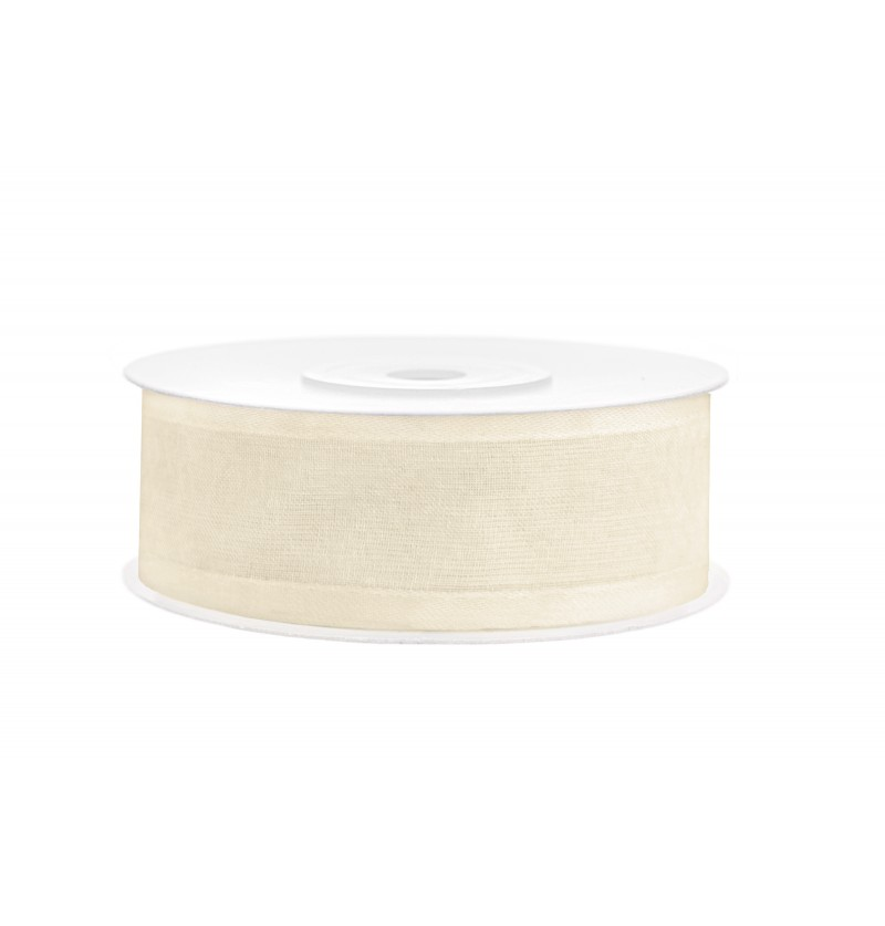 Cinta de gasa y raso beige claro de 2,5 cm