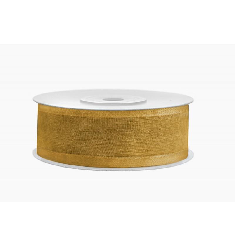 Cinta de gasa y raso dorado de 2,5 cm