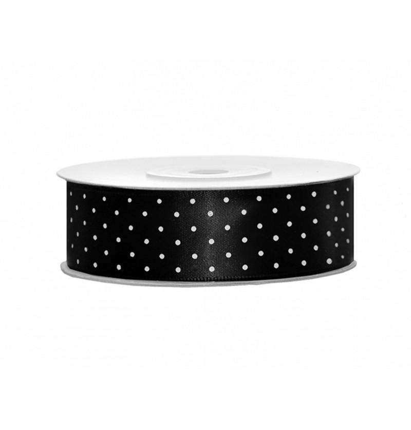 Cinta satinada negra con lunares blancos de 25mm x 25m