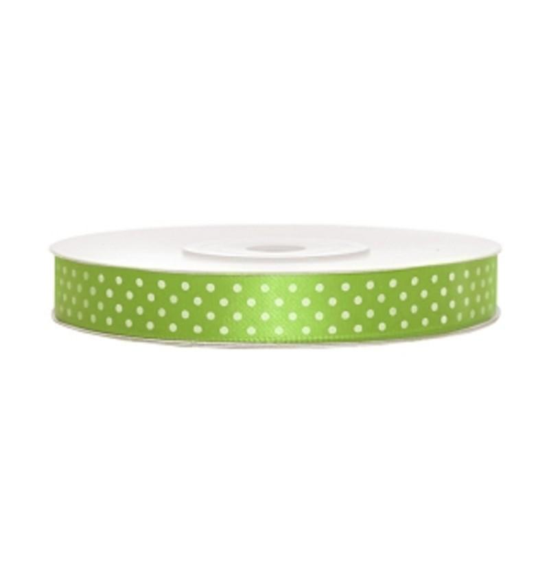 Cinta satinada verde claro con lunares blancos de 12mm x 25m