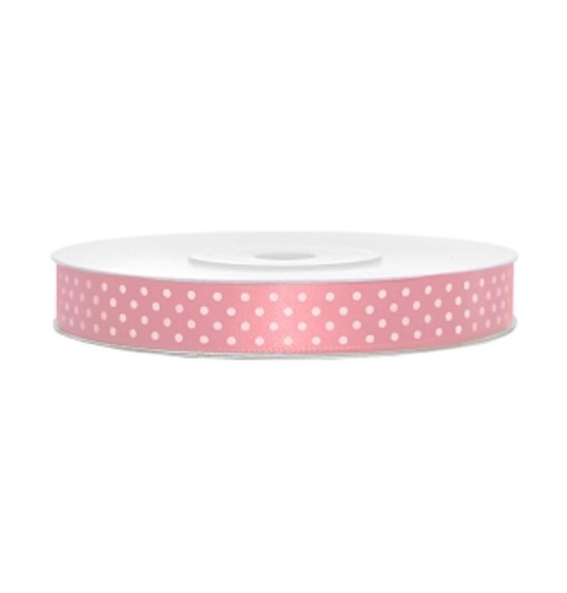 Cinta satinada rosa pastel con lunares blancos de 12mm x 25m