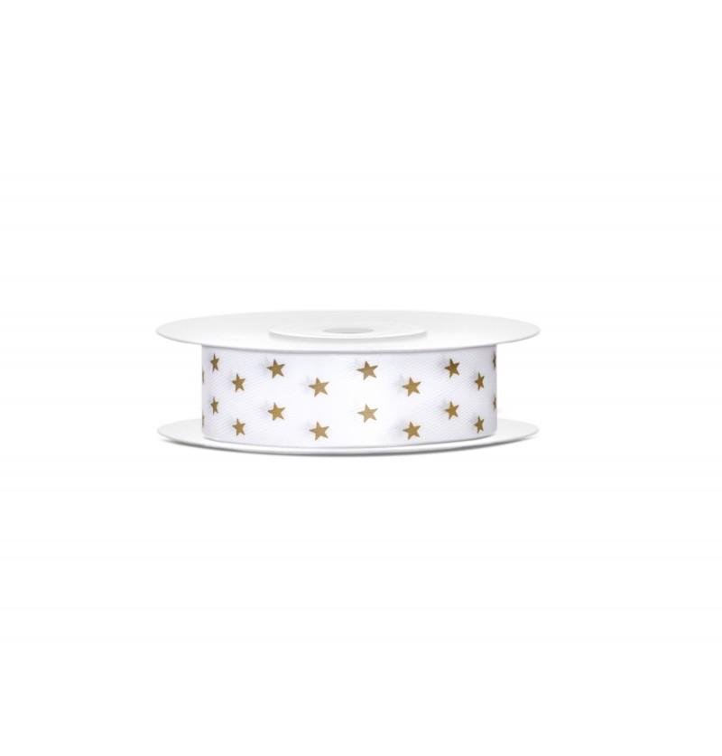 Cinta satinada blanca con estrellas doradas de 1,8 cm