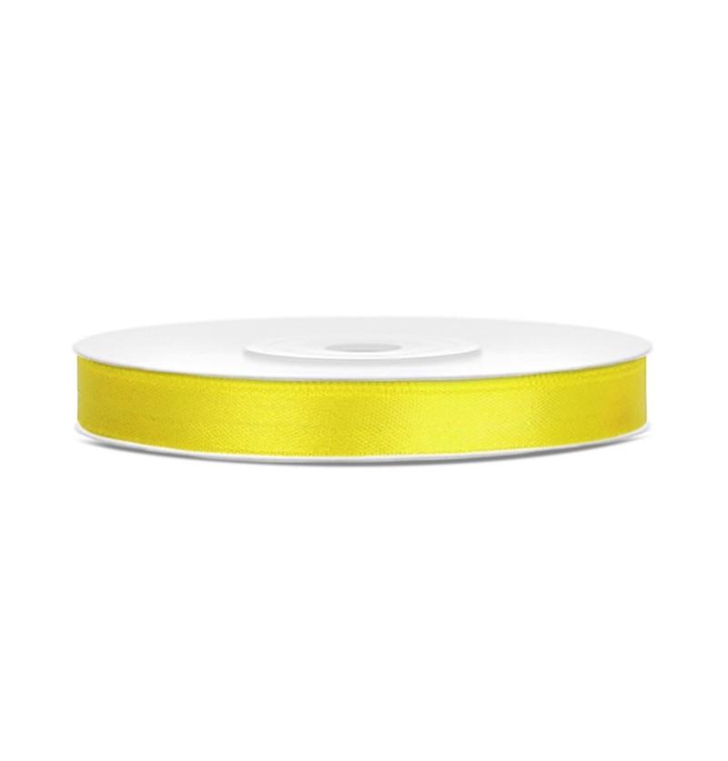 Cinta amarilla satinada de 6mm x 25m