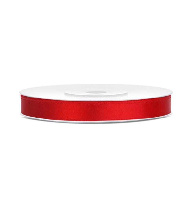 Cinta roja satinada de 6mm x 25m