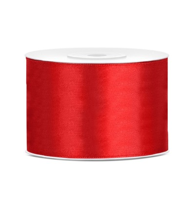 Cinta roja satinada de 50mm x 25m