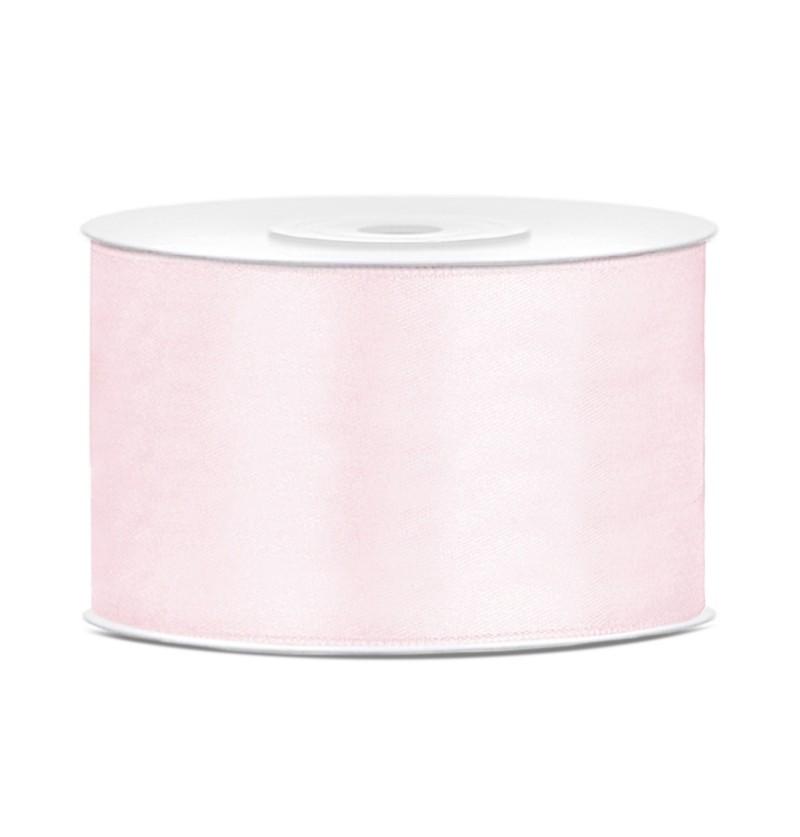 Cinta rosa pálido satinada de 38mm x 25m
