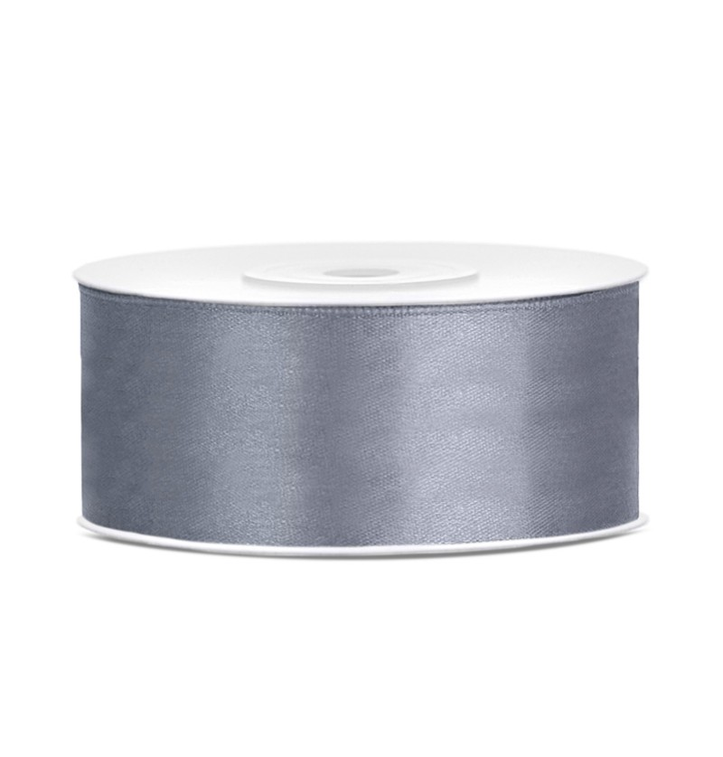 Cinta gris satinada de 25mm x 25m