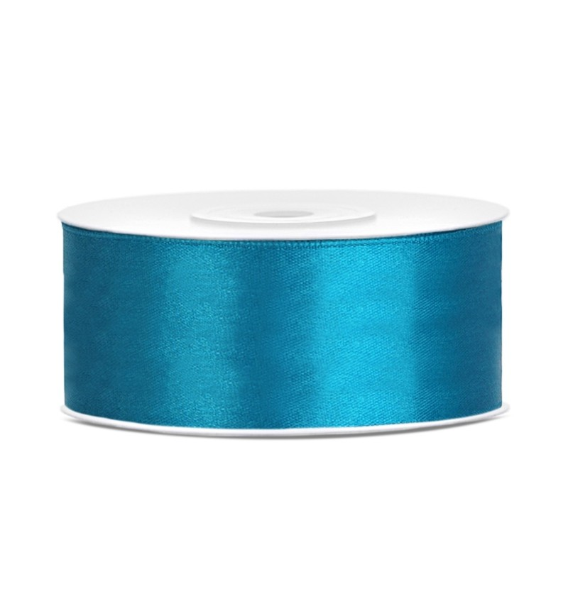 Cinta azul turquesa satinada de 25mm x 25m