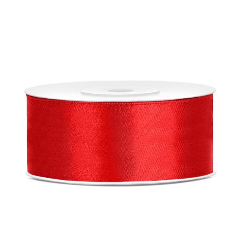Cinta roja satinada de 25mm x 25m