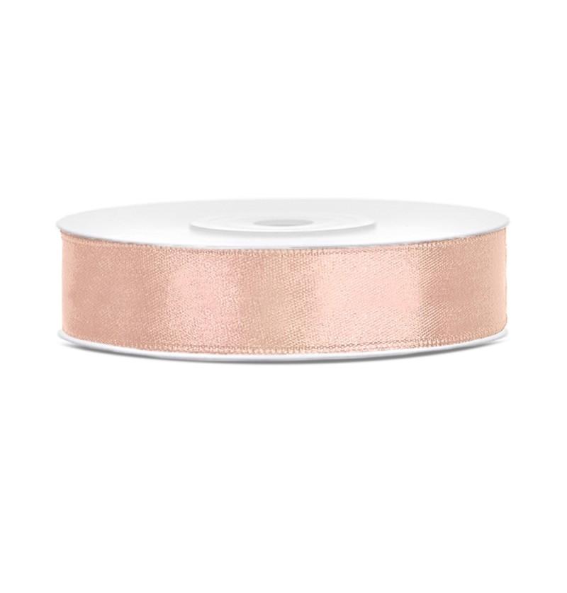Cinta rosa pastel satinada de 12mm x 25m